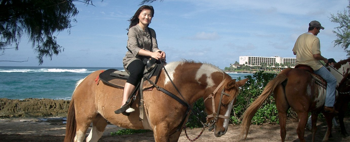 Horse riding in Hawaiit whilst studying English